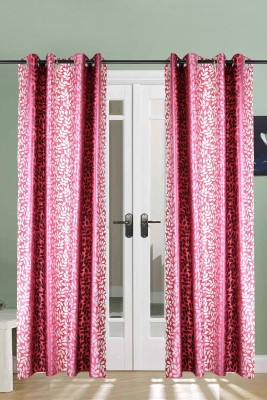 The Handloom Store Polyester Pink, Red Floral Eyelet Door Curtain