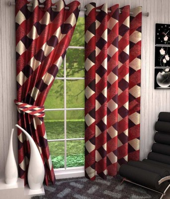 Divine Polyester Red Abstract Eyelet Window Curtain