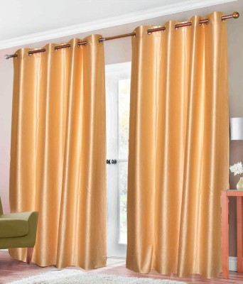 Elegence Polyester Gold Solid Eyelet Door Curtain