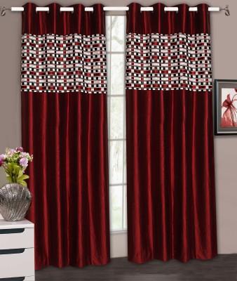 Home Aid Satin Maroon Plain Ring Rod Door Curtain