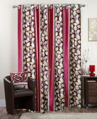 I-LivSmart Polyester Pink Floral Curtain Door Curtain