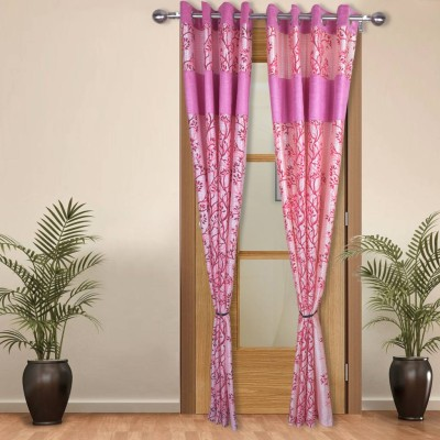 Shoppeholics Polyester Pink Self Design Eyelet Door Curtain