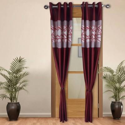 Shoppeholics Polyester Red, White Self Design Eyelet Door Curtain