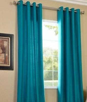 sajaawat Polyester sky blue Plain Eyelet Long Door Curtain