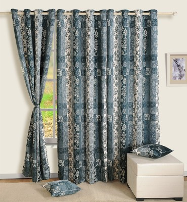 Swayam Satin, Silk Grey Printed Eyelet Window Curtain