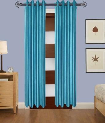 ANURAG TRADERS Polyester SKY BLUE Plain Ring Rod Door Curtain