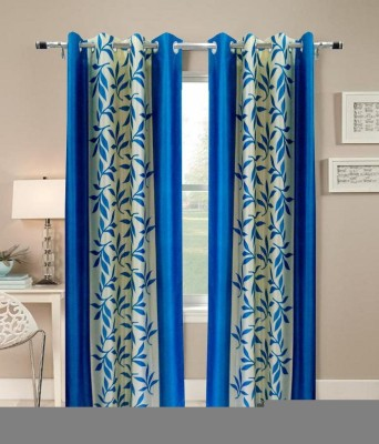 Angel Homes Polyester Blue Floral Eyelet Window Curtain