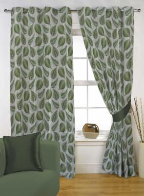 Kings Polycotton Green Self Design Eyelet Door Curtain