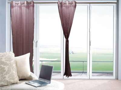 Furnishing Centre Polyester Wine Striped Eyelet Window Curtain