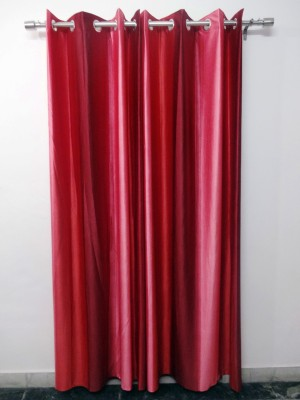 K Gallery Polyester Pink, Maroon Striped Eyelet Long Door Curtain