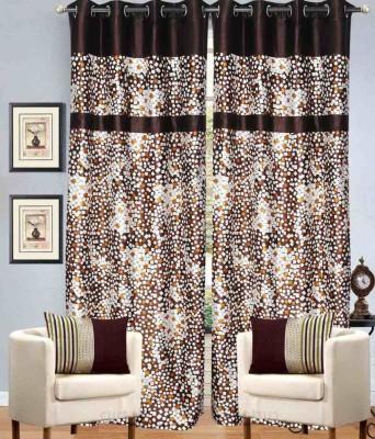 HandloomVilla Polyester Brown Geometric Eyelet Door Curtain