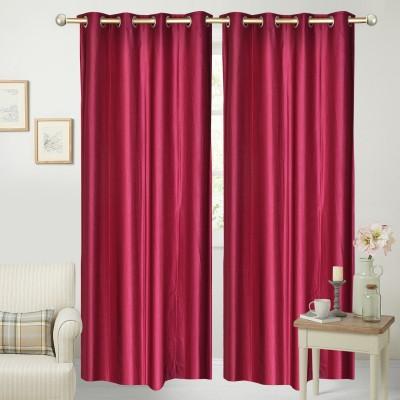 Yellow Weaves Polyester Maroon Plain Curtain Door Curtain