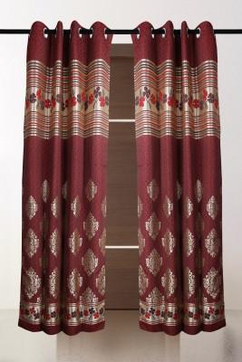 The Handloom Store Polycotton Maroon, golden Damask, Self Design Eyelet Door Curtain