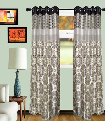 MF Viscose Black Damask Eyelet Window Curtain