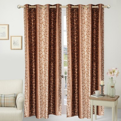 Home Fashion Polyester Brown Floral Eyelet Door Curtain