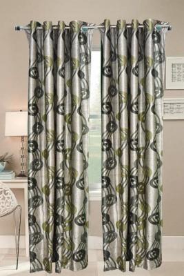 Valtellina Polyester Grey Geometric Eyelet Door Curtain