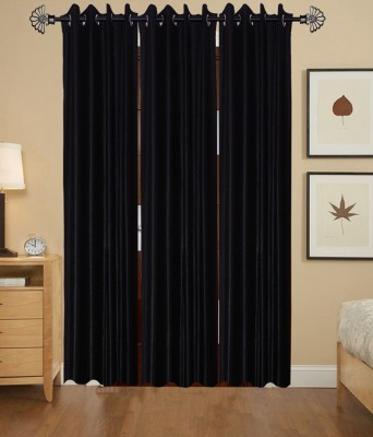 ShopSince Polyester Black Plain Eyelet Door Curtain