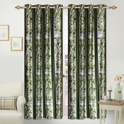 Azaani Polyester Multicolor Floral Eyelet Door Curtain