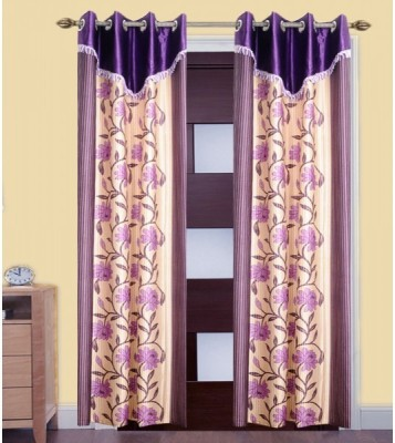 iLiv Polyester Multicolor Floral Eyelet Window Curtain