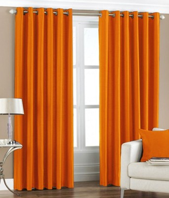 MSJ Polyester Orange Solid Eyelet Door Curtain
