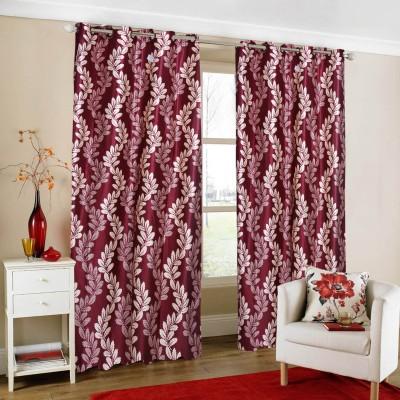 Parabdhani Fashion Polyester Red Floral Ring Rod Door Curtain