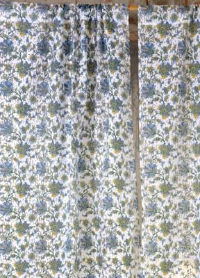 Ocean Homestore Polycotton White Floral Curtain Door Curtain