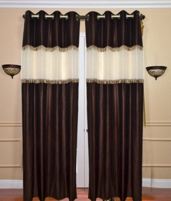 Home And Craft Polyester Brown Plain Eyelet Door Curtain