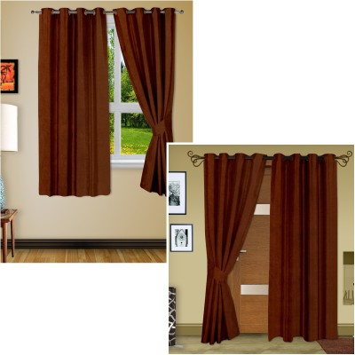 Story @ Home Silk Brown Plain Eyelet Window Curtain