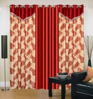 Maa Sharda Exports Polyester Maroon Self Design Eyelet Window Curtain