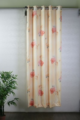 Bloom Polyester Peach, Red Solid Eyelet Door Curtain