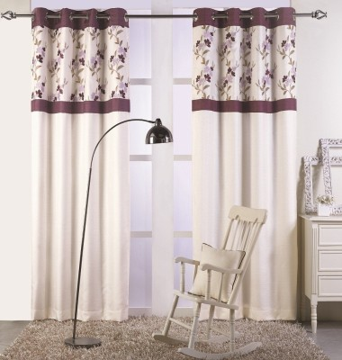 KC HOME Polyester Beige, Purple Floral Curtain Window Curtain
