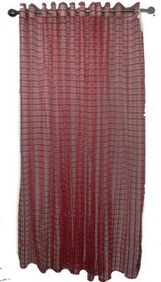 shoppeholics Tissue Mahroon Checkered Curtain Door Curtain