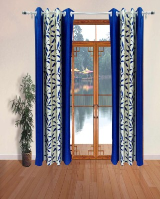 Homefab India Polyester Blue Floral Eyelet Door Curtain
