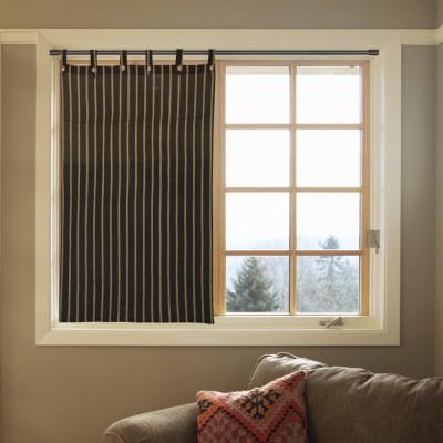 Handloom Factory Cotton Brown Striped Tab Top Window Curtain