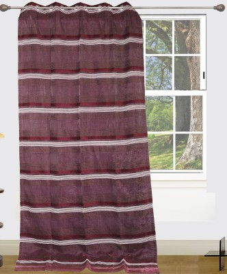 Edit One Polyester Maroon Striped Rod pocket Window & Door Curtain