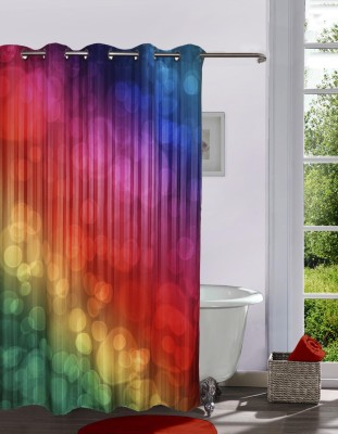 Lushomes Polyester Multicolor Printed Eyelet Shower Curtain