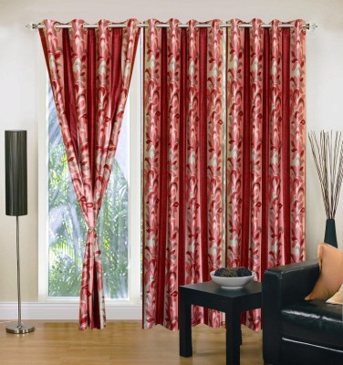 Excel Bazaar Polyester Pink Floral Eyelet Door Curtain