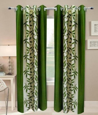 Jars Collections Polyester Green Floral Eyelet Long Door Curtain