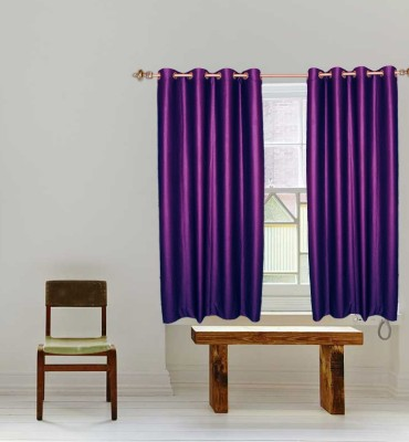 Batham Sales Blends Purple Plain Eyelet Window Curtain