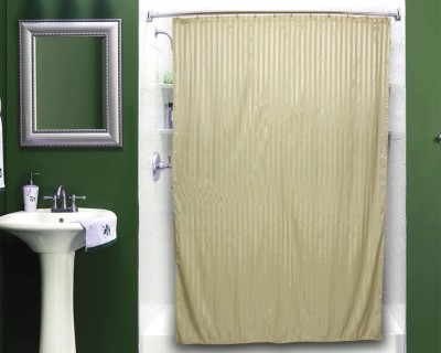 Just Linen Polyester Beige Striped Curtain Shower Curtain