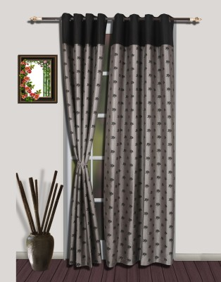 S9home by Seasons Polyester Grey, Black Floral Eyelet Door Curtain