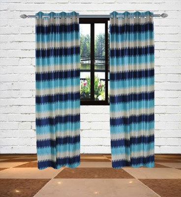 Gaurav Curtains Polyester Blue Floral Eyelet Long Door Curtain