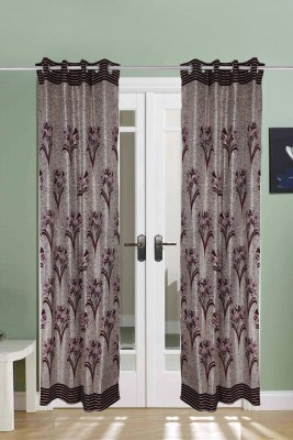 The Handloom Store Polycotton Maroon, Cream Floral Eyelet Door Curtain