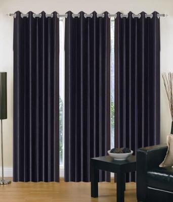 JTInternational Polyester Black Abstract Eyelet Door Curtain