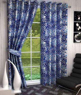 Divine Polyester Blue Abstract Eyelet Window & Door Curtain