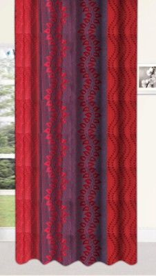 Drapez Polyester Red & Maroon Printed Eyelet Window Curtain
