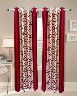 Panipat Textile Hub Polyester Red Floral Eyelet Window Curtain