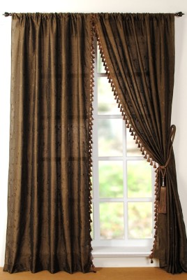 Deco Window Polyester Green Solid Eyelet Window Curtain