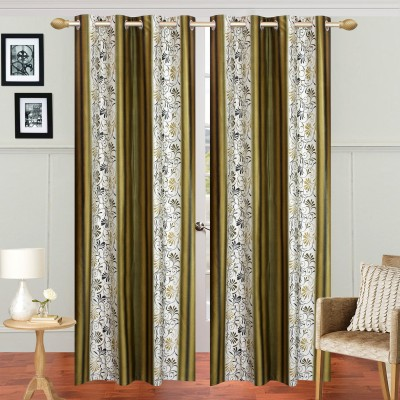 Handy Texty Polyester Green Printed Eyelet Window Curtain