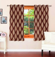Optimistic Home Furnishing Polyester Brown Motif Eyelet Window Curtain(150 cm in Height, Pack of 2)